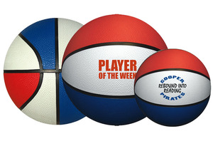 Personalized Basketballs & Custom Printed Red/White/Blue Rubber Basketballs